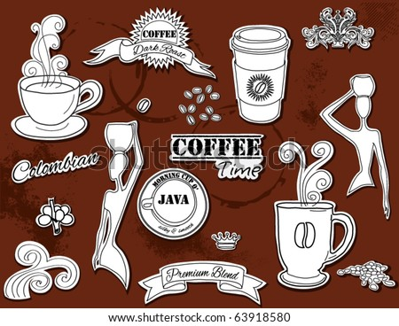 Doodle design elements - Coffee - stock vector