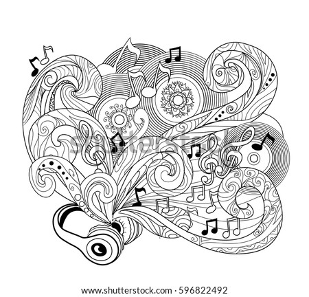 Doodle Design Headphones Zenart Music Concept Page Coloring Stock ...