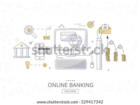 Doodle design style concept  banner of online payment methods. Icons for online payment gataway, mobile payments, electronic funds transfers and bank wire transfer. Modern line style illustration.  - stock vector