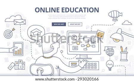 Doodle design style concept of online education, distance learning, retraining. Modern concepts for web banners, online tutorials, printed and promotional materials - stock vector