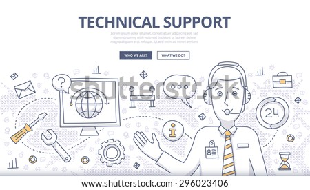 Doodle design style concept of technical support, online call center, customer care service. Modern line style concepts for web banners, online tutorials, printed and promotional materials - stock vector