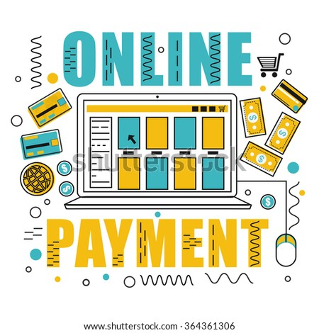 Doodle design style illustration of Online Payments by using Credit Cards for Web Banners, Printed Materials or Promotional Materials. - stock vector