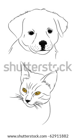 doodle dog and cat - stock vector