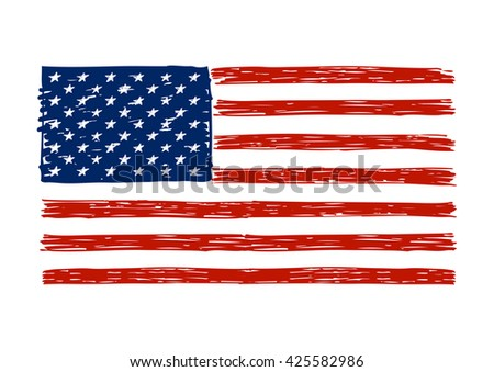 Doodle drawing American flag for Your design