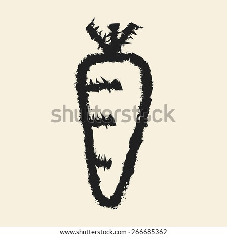 doodle drawing carrot - stock vector