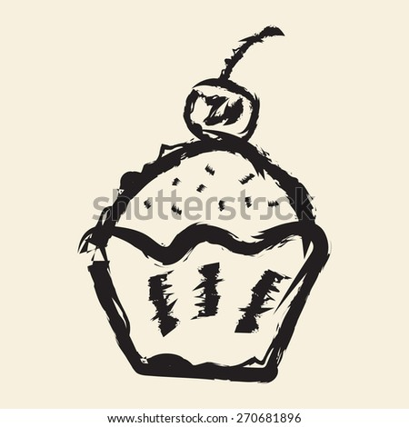 doodle drawing cup cake - stock vector