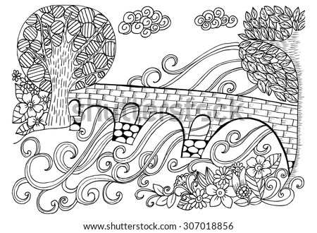 Doodle drawing for coloring book. Bridge through the river - stock vector