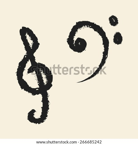 doodle drawing music note - stock vector