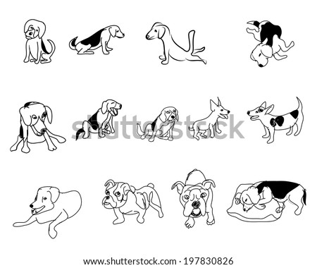 Doodle drawing of dog in many pose on white - stock vector
