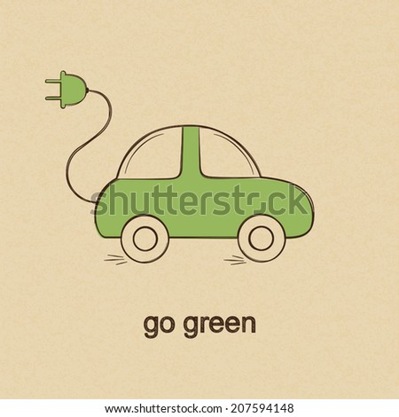 Doodle Drawing Eco Friendly Electric Car Stock Vector