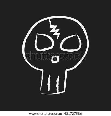 doodle drawing skull - stock vector