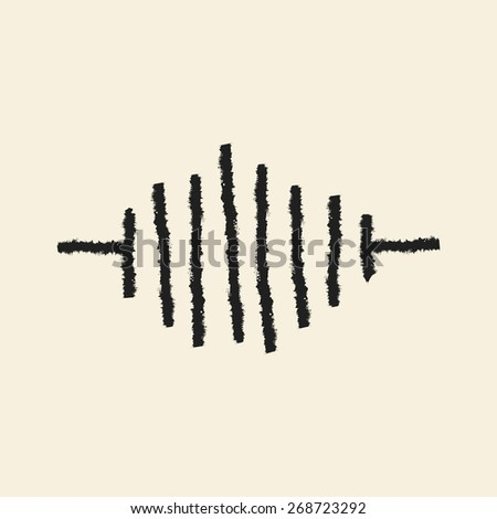 doodle drawing sound wave - stock vector