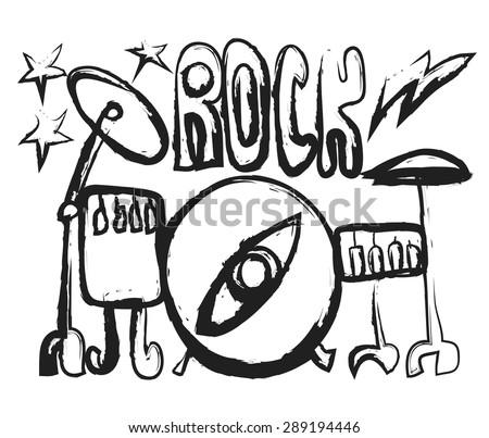 Doodle drum, vector illustration - stock vector