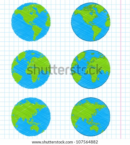 Doodle earth globes set - stock vector