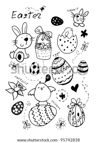 Doodle Easter elements. May be used as an invitation or a foliage for different printings. - stock vector