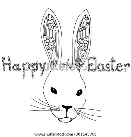 Doodle Easter rabbit illustration - stock vector