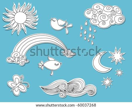 Doodle elements: Nature, paper cutouts - stock vector