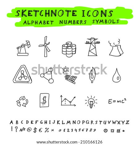 Doodle Energy Icons, Alphabet and Symbols Set. Vector skethnote collection - stock vector