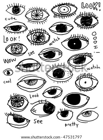 Doodle eyes - stock vector