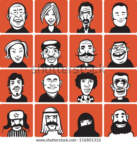 doodle faces - stock vector
