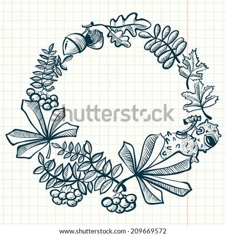 Doodle fall season wreath with leaves - stock vector