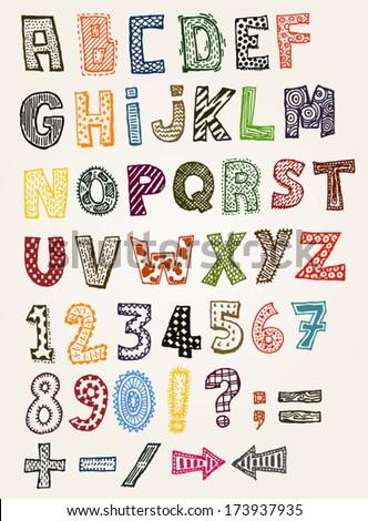 Doodle Fancy ABC Alphabet Illustration Of A Set Hand Drawn Sketched And Doodled Kids