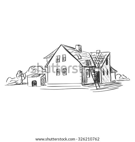 doodle farm. Doodle style. Isolated in white background. Excellent vector illustration, EPS 10