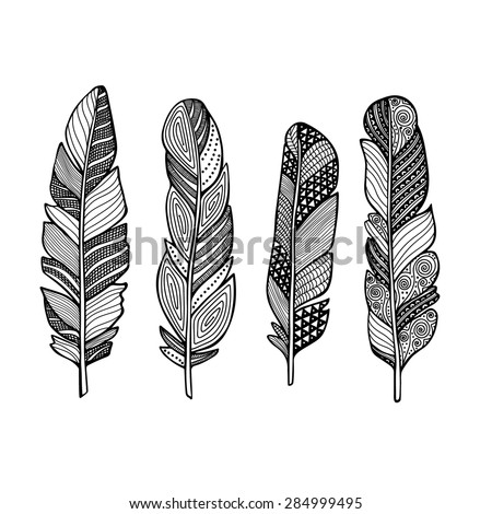 Doodle Feather Vector Set Hand Drawn Stock Vector 284999495