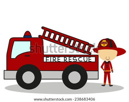 Doodle Firefighters Fire Rescue - Full Color - stock vector