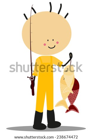 Doodle fisherman - Full Color - stock vector
