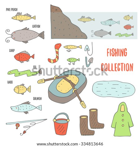 Doodle fishing objects collection including inflatable boat with paddles, lake, rubber boots, bucket, fish habitat in water,coat, fishing rod, bass, carp, salmon, eel, catfish, pike perch, worm. - stock vector