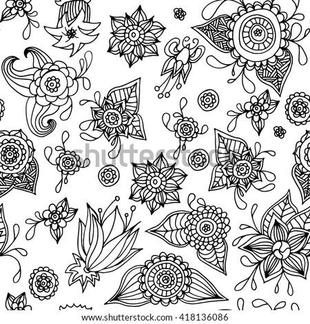 Vector Flower Pattern Black White Seamless Stock Vector