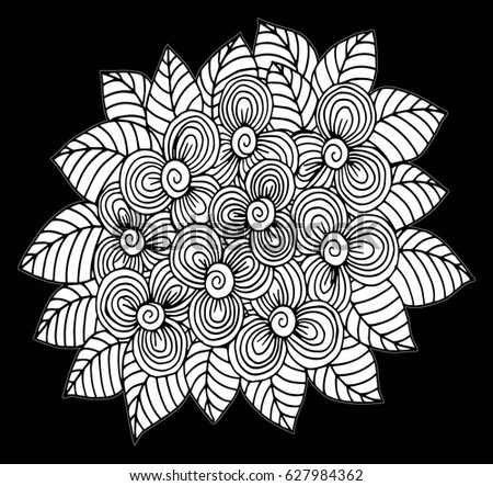 Coloring Book Artist Job : Hand drawn black white ornamental pumpkin stock vector 533673922