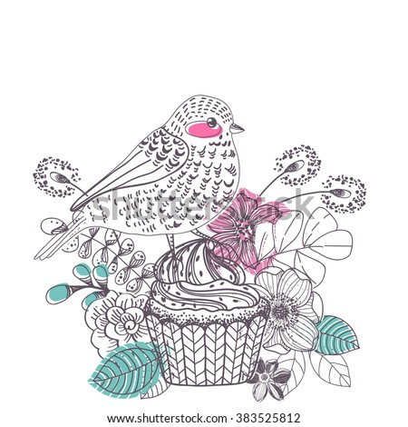 Doodle flower card with cake and bird for beautiful design, the 8th of march design, women's day, Vector