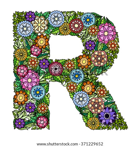 Doodle flower letter r floral element stock vector royalty free doodle flower letter r floral element of colorful alphabet made from flowers altavistaventures Choice Image