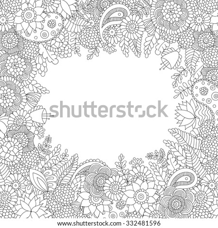 Doodle flower pattern black and white isolated on white background. Vector decorative frame in ethnic Indian style for coloring book, design of textile, bags, product packaging, brochures, flyers - stock vector