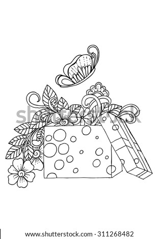 Doodle flowers and butterfly in gift box - stock vector