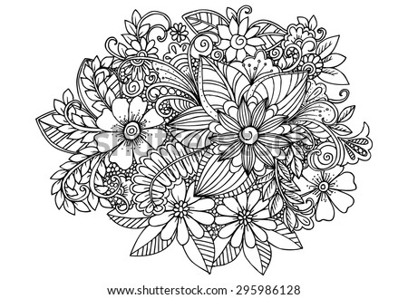 Doodle Flowers Black White Vector Floral Stock Vector