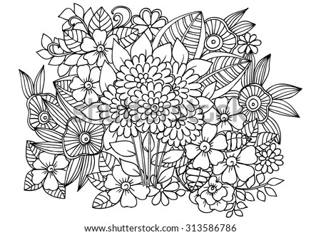 Circle Summer Doodle Flower Ornament Hand Stock Vector