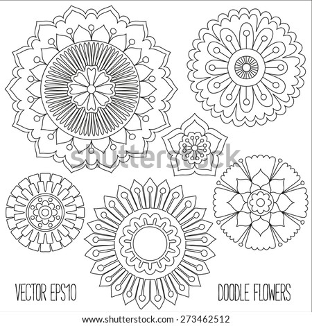 Doodle flowers set. Hand drawn isolated graphic elements. Boho and ethnic style mandala. Decorative art for birthday cards, wedding and baby shower invitations, scrapbooking etc. Vector illustration. - stock vector