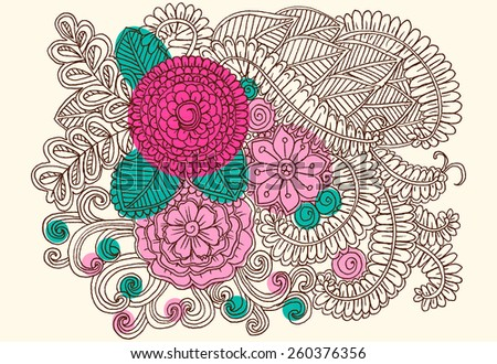 Doodle flowers. Vector bouquet of flowers. Art floral pattern - stock vector