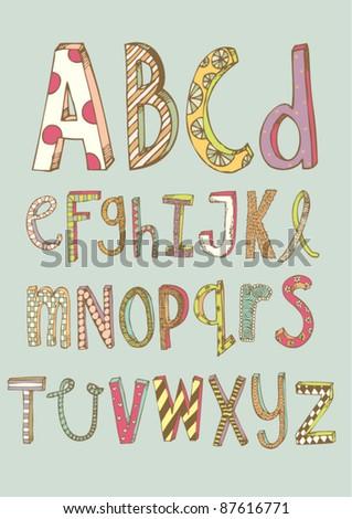 doodle font - stock vector