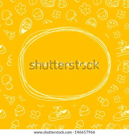Doodle frame and seamless children background - stock vector