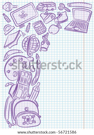 Doodle frame with school objects drawing on the page - stock vector