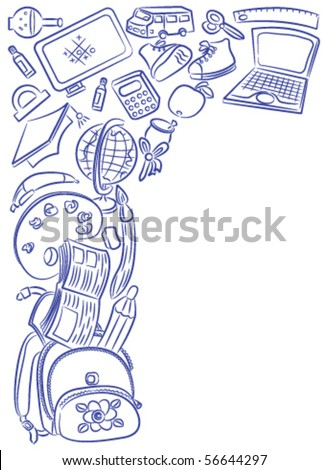 Doodle frame with school objects isolated on white background - stock vector