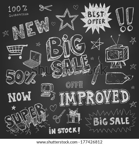 Doodle Frames and design elements on chalk board - stock vector