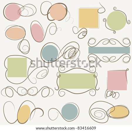 Doodle frames collection - stock vector