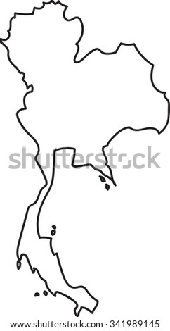 Doodle Freehand Outline Sketch Thailand Map Stock Vector ...