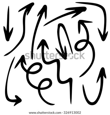 doodle freehand set of arrow hand drawn - stock vector