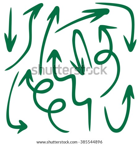 doodle freehand set of grunge arrow hand drawn - stock vector